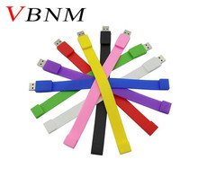 VBNM Silicone Bracelet Wrist Band 4GB 8GB 16GB 32GB USB 2.0 USB Flash Drive Pen Drive Stick U Disk Pendrives gift(China)