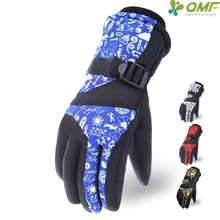 Blue Winter Games Print Snowboarding Ski Gloves Red Waterproof Warm Snowmobile Mittens Yellow Mens Anti-Skid Cycling Glove Warm