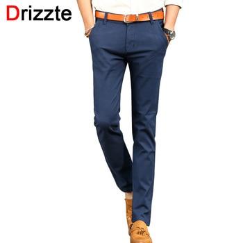 Drizzte mens estilo britânico magro chino denim macio calças jeans stretch azul bege branco 32 33 34 36 38