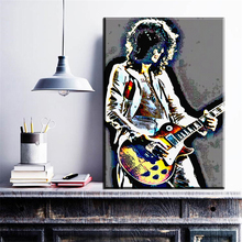 ZZ696 modern abstract pop art cool young man playing guitar canvas pictures oil art painting for livingroom bedorom decoration(China)