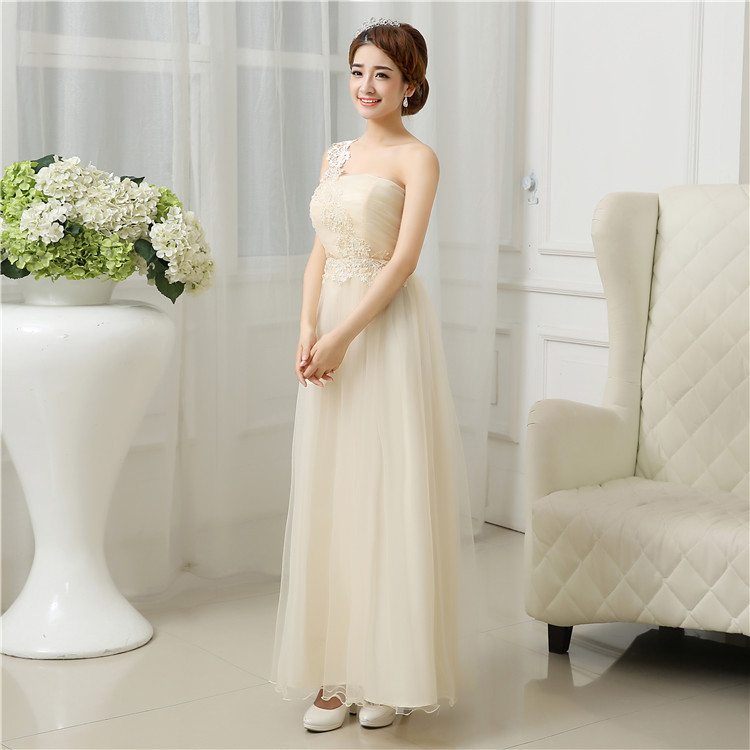 Elegant Sweetheart Robe Demoiselle Corset Chiffon Light champagne bridesmaid dresses long free shipping<br><br>Aliexpress