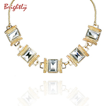 Brightly Maxi Statement Necklaces with Elegant White/Black Rhinestones Pendants Necklaces For Women Evening Dress(China)