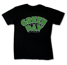 "GREEN DAY ""GREEN LOGO"" BLACK SLIM FIT T-SHIRT NEW OFFICIAL ADULT PUNK ROCK BAND t shirt silk screen printing"