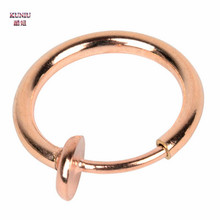 KUNIU 1Pair Stylish Fake Spring Action Non Piercing Nose Septum/Ear Body Jewelry Gold Silver Black Rose Gold Color