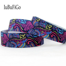 "[IuBuFiGo] 10 yard 7/8"" 22mm Sea wave Printed Grosgrain Ribbon Polyester ribbons DIY bowhair handmade materials 10Y1132(China)"