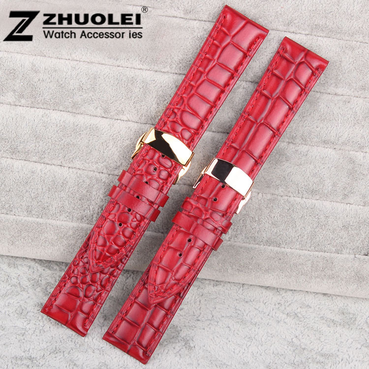 Watch band 20mm Genuine Leather Watch strap bracelets gold depolyment watch clasp<br><br>Aliexpress