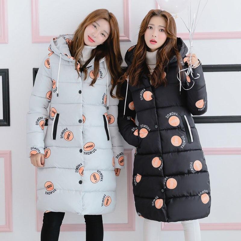 Cute Dot Pattern Women Winter Cotton Padded Jackets Thick Coat Down Kawaii Parka Warm Long Hooded Overcoat Girl Female ParkasÎäåæäà è àêñåññóàðû<br><br>