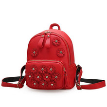 COOL WALKER Fashion Small Backpack Female Bag High Quality Pu Leather Women Backpacks Korean Flowers Girls Travel Bookbag(China)
