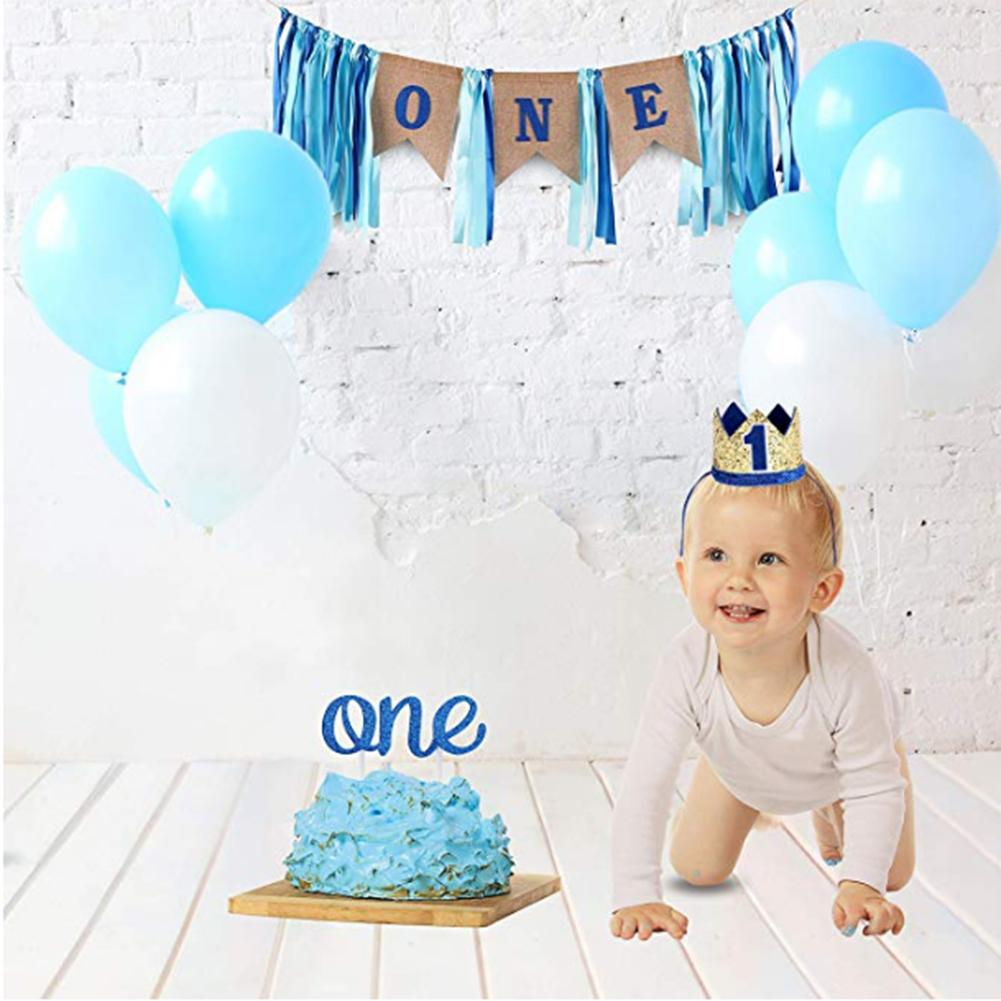 1st Birthday Banner Boy 1st Birthday Party Supplies Personalised One Birthday Highchair Banner /& Cake topper bundle 1st Cake topper
