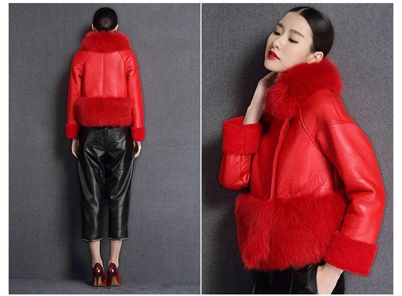 genuine sheep leatherskin jacket fox fur cooar coats (15)