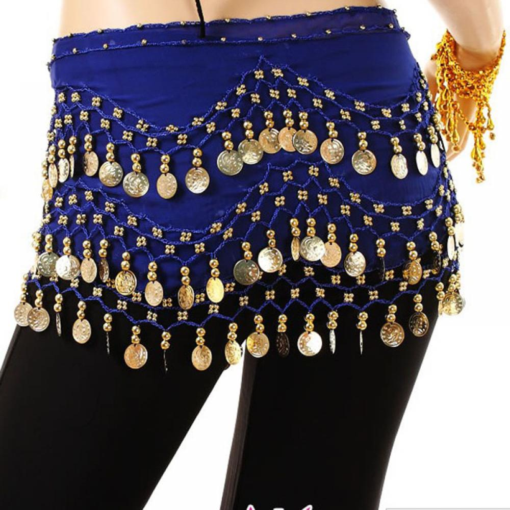 Shinning 3Rows Gold Coin Belly Dance Costume Hip Scarves Skirt Belt Dancing Wrap
