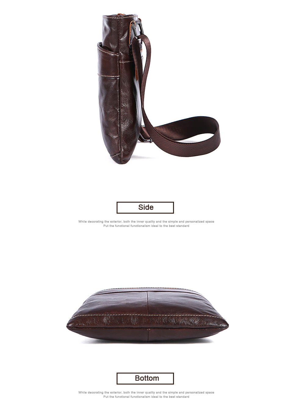 Genuine Leather Men Bag Men Messenger Bags Fashion ipad Flap Crossbody Bags Small Casual Men's Leather Shoulder Bag Man (5)