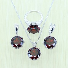 Reginababy Silver color Red created Garnet Jewelry Set For Women Earrings/Ring/Necklace/Pendant(China)