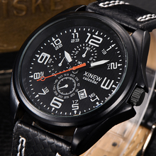 XINEW Cheap Military Army Brand XINEW Vintage Sport Men Watch Leather Imported Clock Relogios Masculinos Male Man Wristwatches
