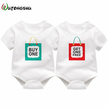 1 Year Birthday Twins Baby Clothes Shower Gift Fashion Newborn Boy Bodysuits for 0-12 Mons Sunsuit Boys & Girls White T-Shirt(China)