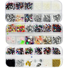 1200pcs/lot 12styles 3D nail art diamond shape brush for nails decoration Stickers with rhinestones ornaments