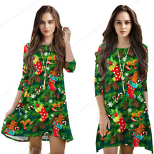 Green Christmas Tree Womens Dress Red Christmas Stocking Ornament Dresses Three Quarter Sleeves Midi Dress Sport Tennis Dress