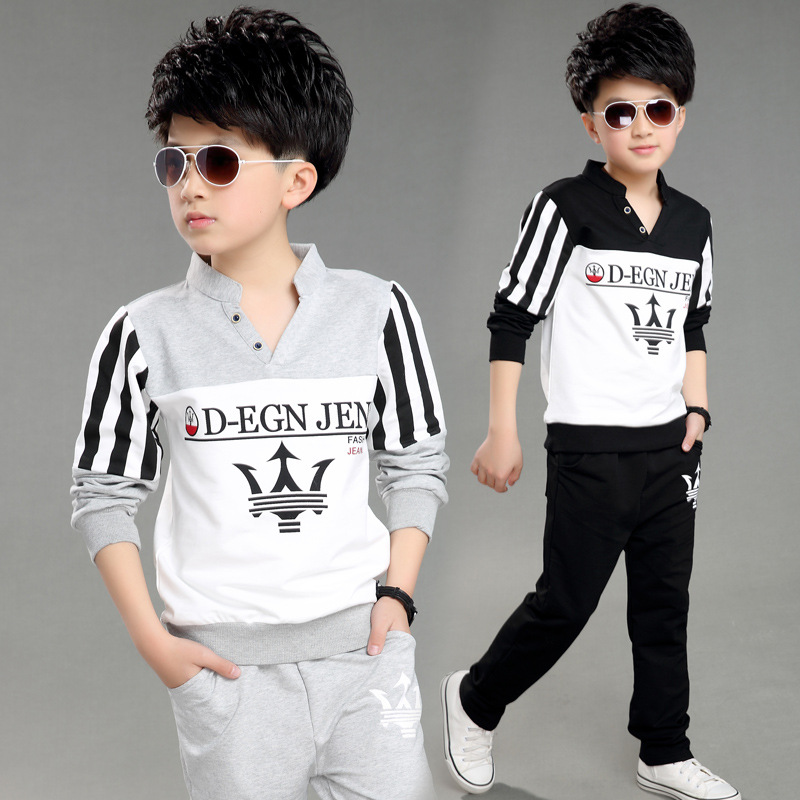 New children suit, male children fall clothing, childrens v-neck printing 5-13 t two pieces/group<br><br>Aliexpress
