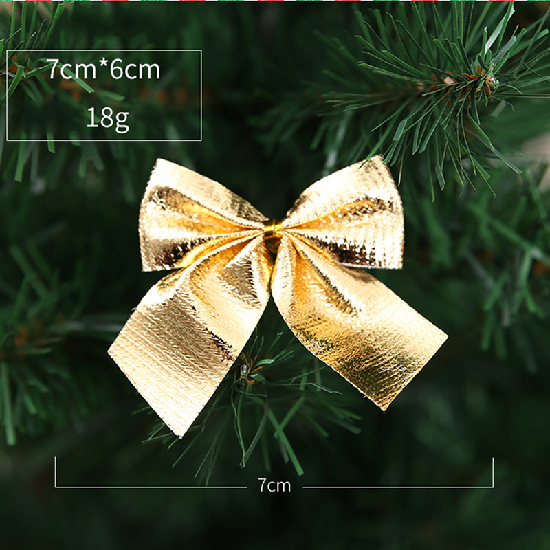 Christmas Home Decorate Bowknot Xmas Tree Ornament Bow Tie Party Gilding Supply