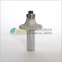 "Radius 10mm Vacuum Brazed diamond router bits with 1/2"" shank for granite marble,  Router cutter for stone, Rome-3 type"