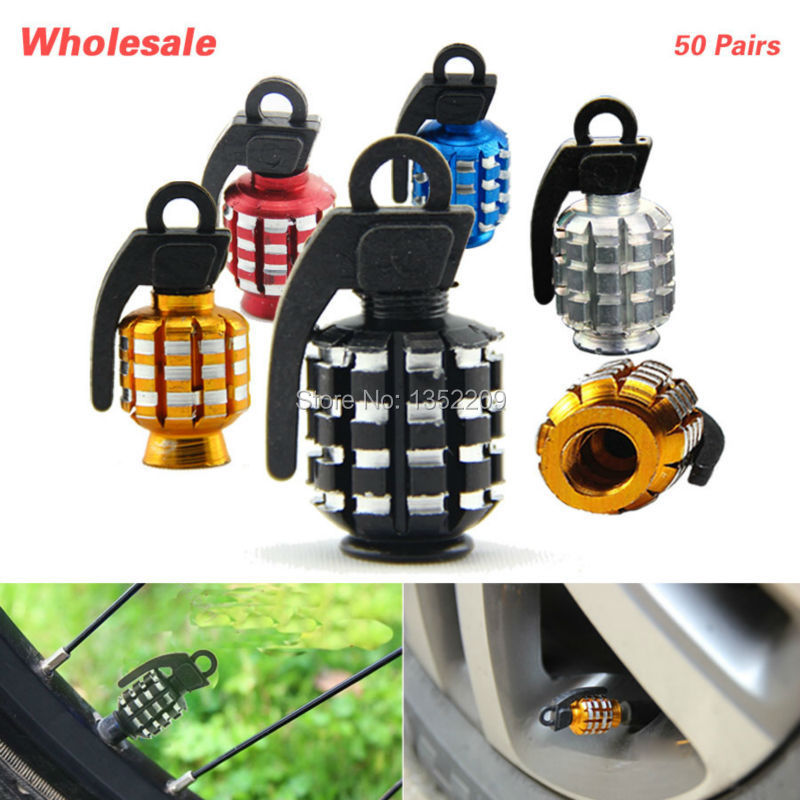 Wholesale 50Pairs Grenade Car Truck Motorcycle Bicycle Aluminum Wheel Tire Air Valve Stem Cap Covers Set Tire Wheel Valve Caps(China (Mainland))