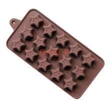 Silicone Ice Cube moulds 15 lattices DIY chocolate star shape silicone molds SICM-115-14(China)