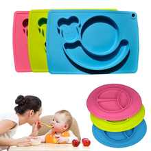 Hot Sale Baby Silicone Placemat Plate Food Super big Size Smile Suction to Dining Table V(China)