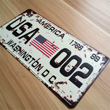 "SP-CP-291 Car number "" route 66 road america  "" License Plates plate Vintage Metal tin sign Wall art craft painting 15x30cm"