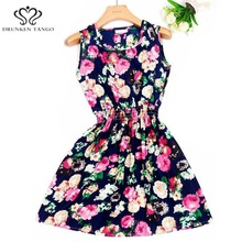 2017 summer dress new Korean Women casual Bohemian floral leopard sleeveless vest printed beach women chiffon dress