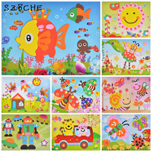 EVA hand-painted 3D creative handmade paste painting collage parenting toys handmade three-dimensional jigsaw puzzle(China)