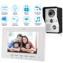 OWSOO 7 inch TFT LCD Wired Visual Video Intercom Video Door Phone Speakerphone Intercom System With Waterproof Outdoor IR Camera(China)