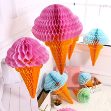 3 pcs Ice Cream Shape Tissue Paper Hanging Honeycomb Balls Lanterns Poms Wedding Birthday Party Home Decoration Paper Balls(China)
