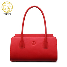 Pmsix Chinese Style Solid Color Leather Bag Cattle Split Leather Red Bridal Bag Ladies Retro Tote Bag Designer Handbag P220011