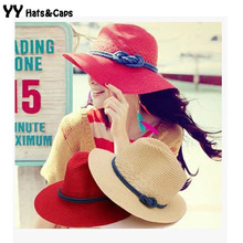 COOL!2015 Panama Hats Wide Brim Sun Hats Women Summer Beach Caps Girl Straw Sun Visors Hats Panamo Sombrero de Verano YY0094(China)
