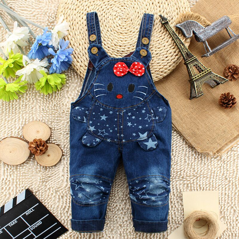2016 kids overall hello kitty jeans clothes newborn baby bebe denim overalls jumpsuits for toddler/infant boys girls bib pants(China)