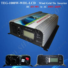 Wind Turbine Inverter DC to AC 1000W Grid Tie Power Inverter For Wind With Dump Load And Meter-LCD DC 45-90V to AC 190V-260V(China)