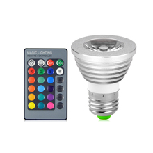 RGB LED Bulb Multicolor LED Lamp 5 Watt E27 Base Infrared Remote Control 16 Colors LED Spotlight Bars Stage Media Rooms Decor