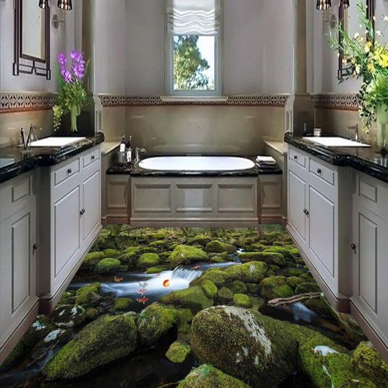 Free Shipping 3D moss stone creek flooring painting restaurant balcony decorative self-adhesive floor mural<br><br>Aliexpress