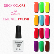 Belle Fille Hot Summer Neon Colors UV Gel Nail Polish Nail Gel Colorful Green Yellow Light Blue Lacquer Nail Polish(China)