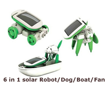Hot Creative Solar Power 6 in 1 Toy Kit DIY Educational Robot Car Boat Dog Fan Plane Puppy toys for children gift