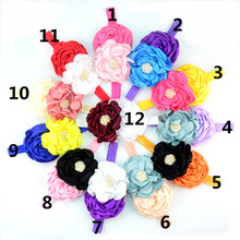 30pcs/lot 12 Color Burned Satin Flower Headband Flat Rose Floral Rhinestone Button Headband Girl Shower Party Headwear FD210