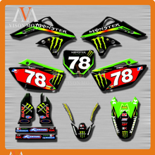 Customized Team Graphics & Backgrounds Decals 3M Stickers For KAWASAKI KX250F KXF250 KXF 250 2006 2007 2008 06 07 08