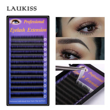 Flat Extensions D Curl Silk Permanent Cilios Kit Lashes Extension For Professional LAUKISS Natural 6d Ellipse Flat lashes B-09