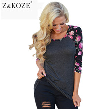 Z&KOZE 2017 Women Vintage Floral Printed T Shirts Three Quarter Sleeve O-Neck Casual Basic T-Shirt Lady Tee Shirt Femme Tops(China)