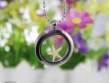 wholesale 8pcs/lot Real Natural ocean style necklace Glass Floating locket with real starfish Pendant Necklace