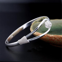Famous brand Rose Flower bangle white gold Color Cuff bangle full clear crystal clasp cuff bracelets for women