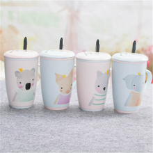 Couple Cute Coffee Mugs Tea Cups With Lid Creative Goods Personalized Animal Bardak Cartoon Eco-friendly Mugs Stocked QQB819