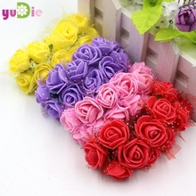 12pcs mini foam hand bouquet of roses wreath of artificial flowers wedding decoration DIY craft supplies real touch roses(China)