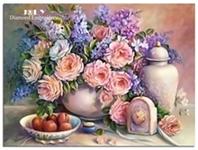 Diamond pattern sets handicraft Embroidery with diamonds mosaic Diamond painting cross stitch flowers in vase pink rose picture