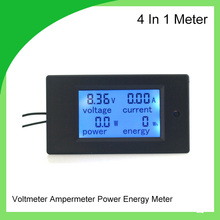 Combo Digital Ammeter Voltmeter DC 100V 50A Ampere Voltage Power Energy Tester LCD Blue Panel Moduel(China)